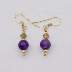 Amethyst and Gold-Fill Drop Earrings.